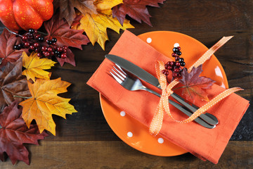 Autumn Fall Thanksgiving Orange Table Place setting