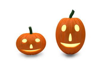 two smiling pumpkins isolated on white