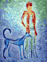 Girl with lurcher artwork