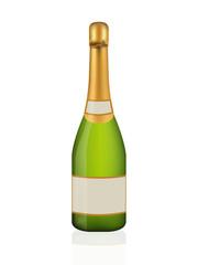Champagne bottle on white