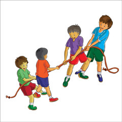 group of teens playing rope