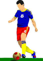 Soccer player poster. Football player. Vector illustration