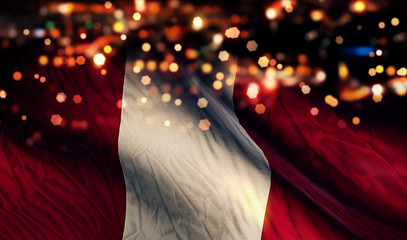 Peru National Flag Light Night Bokeh Abstract Background