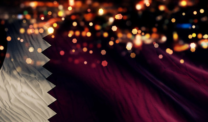 Qatar National Flag Light Night Bokeh Abstract Background
