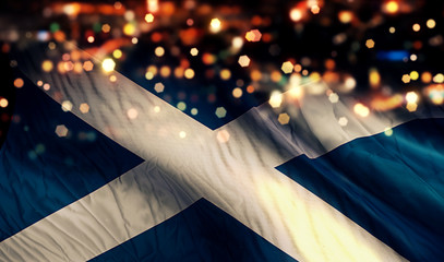 Scotland National Flag Light Night Bokeh Abstract Background