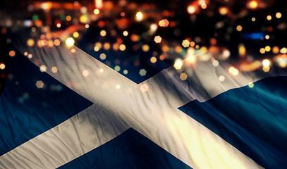Scotland National Flag Light Night Bokeh Abstract Background