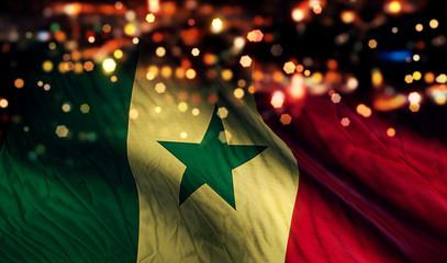 Senegal National Flag Light Night Bokeh Abstract Background