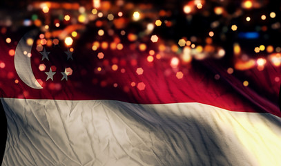 Singapore National Flag Light Night Bokeh Abstract Background