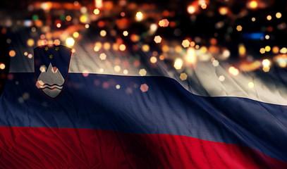 Slovenia National Flag Light Night Bokeh Abstract Background