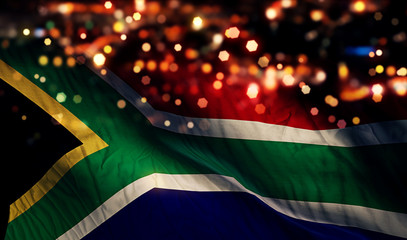 South Africa National Flag Light Night Bokeh Abstract Background