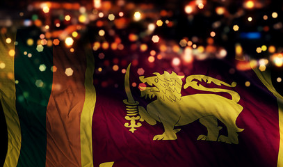 Sri Lanka National Flag Light Night Bokeh Abstract Background