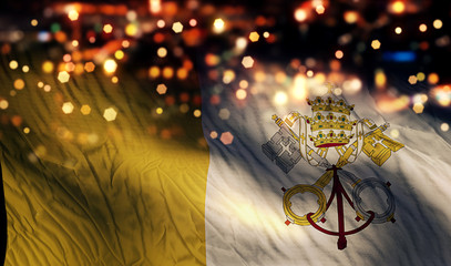 Vatican National Flag Light Night Bokeh Abstract Background