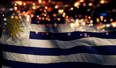 Uruguay National Flag Light Night Bokeh Abstract Background
