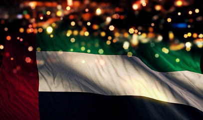 United Arab Emirates National Flag Light Night Bokeh Abstract