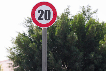 Road sign 20 kilometer per hour