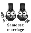 Monochrome comical same sex marriage