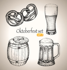 Beer Oktoberfest set. Toby jugs, snack and beer barrel