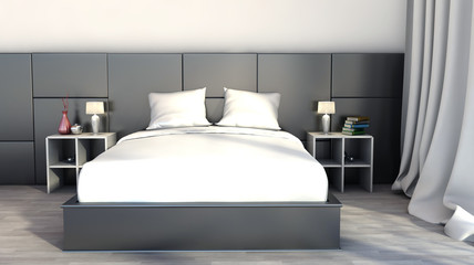 Black and white color in the bedroom
