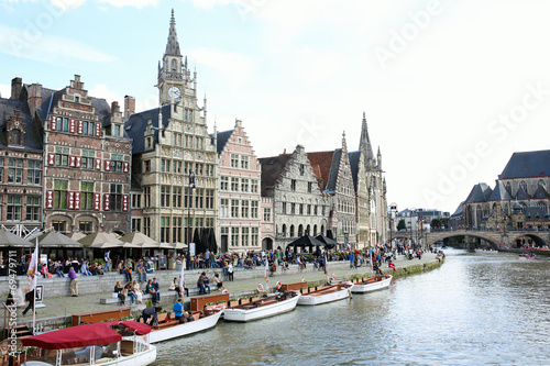 Fotobehang Kanaal Beautiful Graslei along the river in Belgian city of Ghent