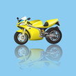 Постер, плакат: Yellow Superbike Cartoon
