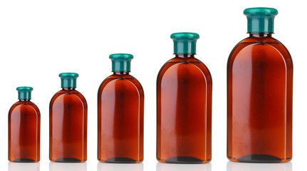 Evolution concept.Cosmetic bottles isolated on  white