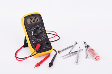 Digital multimeter and hand tools