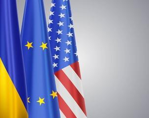 Ukraine EU USA flags
