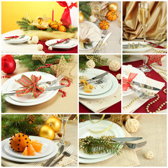 Christmas table setting collage