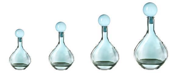 Evolution concept.Decorative bottles, isolated on white