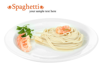 Pasta with shrimps on white plate, isolated on white