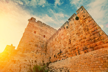 Ancient wall in old city Jerusalem