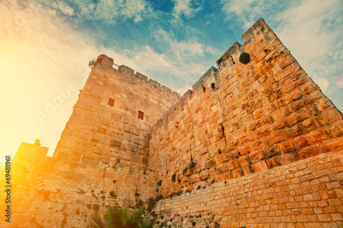 Foto Spatwand Vestingwerk Ancient wall in old city Jerusalem