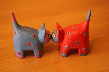 colorful wooden toy cats