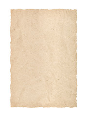 kraft page with torn edges on an isolated white background