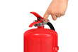 Hand pulling pin of fire extinguisher - 69482951