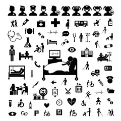 Doctor icon and hospital