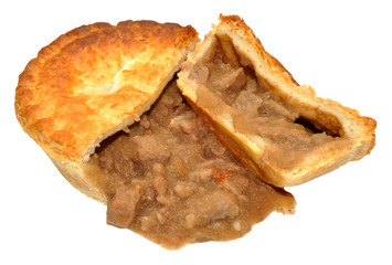 Steak Filled Savoury Pie Cut Open