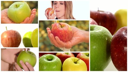 apple montage including fruits and healthy young women