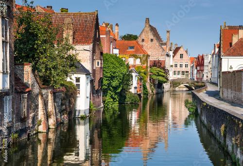 Deurstickers Brugge Bruges canal, Flanders, Belgium