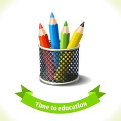 Education icon colored pencils
