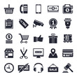 Shopping and commerce theme, black and white icons.