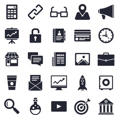 Business and start up theme, black and white icons.