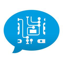 Etiqueta tipo app azul comentario simbolo circuito