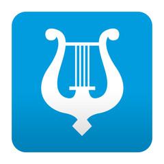 Etiqueta tipo app azul simbolo musica