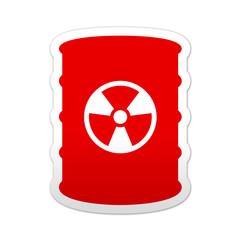 Pegatina simbolo rojo bidon de residuos