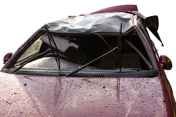 Close up of a red car with no front windshield due to accident.