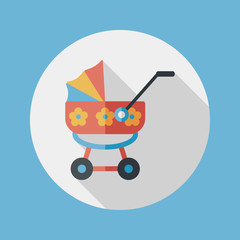Pram flat icon with long shadow,eps10