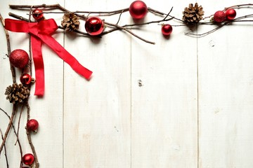Red ribbon and Christmas ornament balls