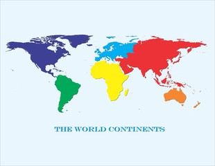 World Continents in Color