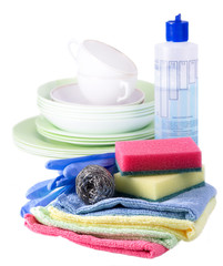 sponges, towels and dishwashing detergent